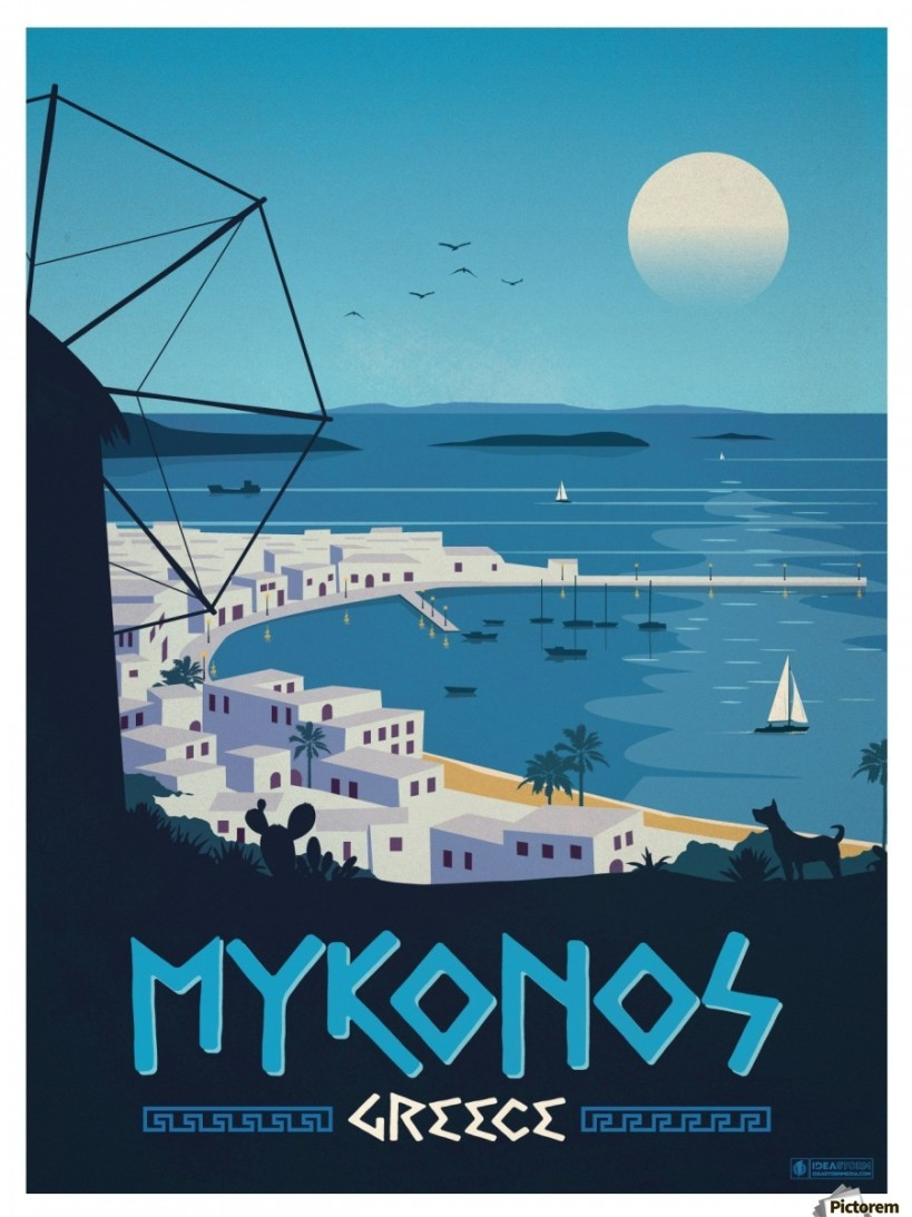900_Vintage Travel Poster for Island Mykonos in Greece